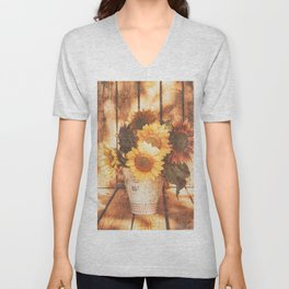 Country Style Sunflowers Unisex V-Neck
