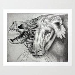 Lion Skeletal Portrait Art Print