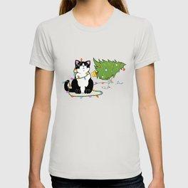 Tuxedo Cat Knocks Over Christmas Tree T-shirt