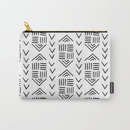 mudcloth 7 minimal textured black and white pattern home decor minimalist Carry-All Pouch