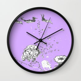 Two Tailed Duck and Jellyfish Purple Grape Wall Clock