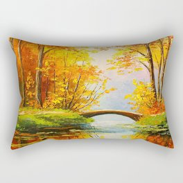 Bridge in the autumn forest Rectangular Pillow