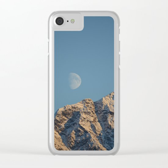 Moon Over Pioneer Peak - II Clear iPhone Case