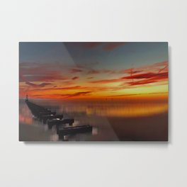 The Beach at Sunset (Digital Art) Metal Print