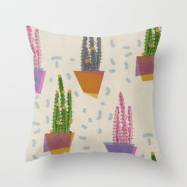 Cacti in the pot Throw Pillow