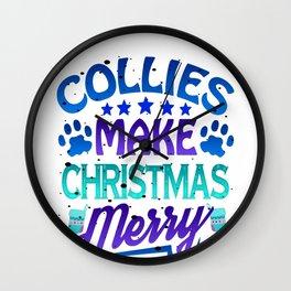 Christmas Collies Make Christmas Merry Wall Clock