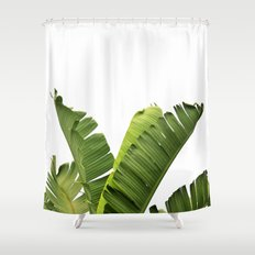 Tropical Banana Plant Leaves Shower Curtain