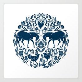 Modern Folk Art Horse Illustration with Botanicals and Chickens Art Print