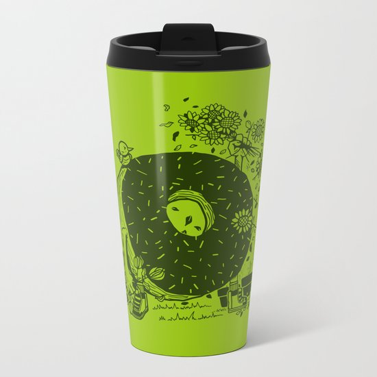 Donut Pick Flowers Metal Travel Mug