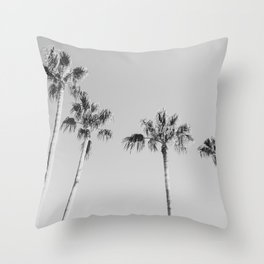 Black Palms // Monotone Gray Beach Photography Vintage Palm Tree Surfer Vibes Home Decor Throw Pillow