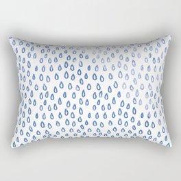 Blue Shimmer Raindrops Rectangular Pillow