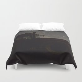 Tractor with the Night Sky Duvet Cover