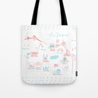 san francisco map Tote Bags featuring San Francisco Illustrated Calligraphy Map by Megan Kelso