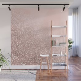 Rose Gold Sparkles on Pretty Blush Pink VI Wall Mural