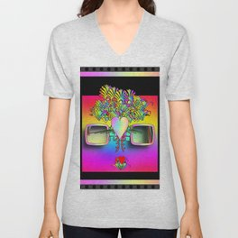Fantasy Glasses With Hearts and Flowers Unisex V-Neck