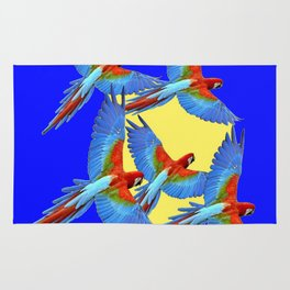 DECORATIVE FLOCK OF BLUE MACAWS & YELLOW Rug