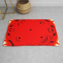 Red Circles With A Hint Of Black Rug