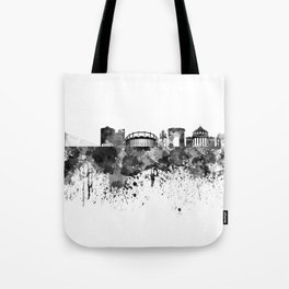 Bucharest skyline in black watercolor Tote Bag