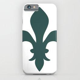 Fleur de Lis (Dark Green & White) iPhone Case