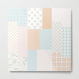 Modern Farmhouse Geometric Floral Quilt Pattern in Citrus Orange Pink Turquoise Beige Metal Print
