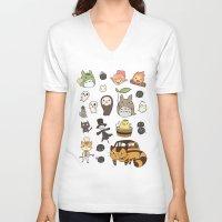 studio ghibli V-neck T-shirts featuring studio ghibli  by skymerol