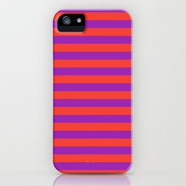 Even Horizontal Stripes, Red and Purple, M iPhone Case