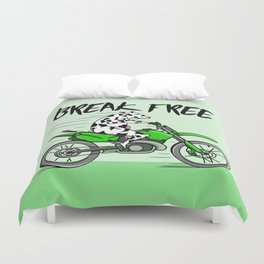 Cow riding a motorbike Duvet Cover