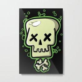Toxic skull and crossbones green Metal Print