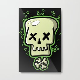Toxic skull and crossbones green Metal Print