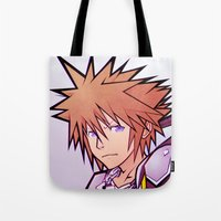 kingdom hearts Tote Bags featuring Kingdom Hearts 2 - Sora by Outer Ring