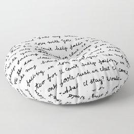 Can't Help Falling in Love Script Floor Pillow