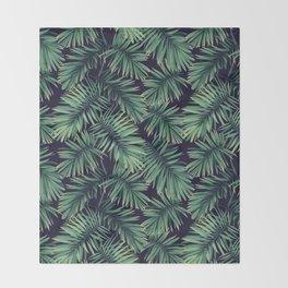 Green palm leaves Throw Blanket