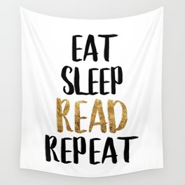 Eat Sleep Read Repeat Gold Wall Tapestry