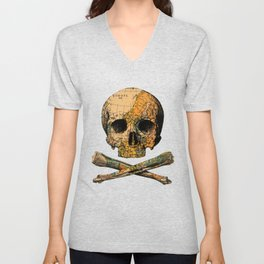 Treasure Map Skull Wanderlust Europe Unisex V-Neck