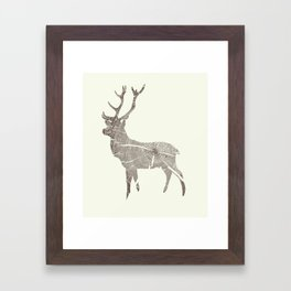 Wood Grain Stag Framed Art Print
