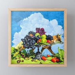 Fox and Grapes Framed Mini Art Print