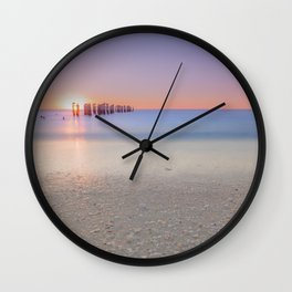 Naples Beach Sunset at 3rd Ave Wall Clock