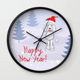 poodle dog santa y blue tree Wall Clock