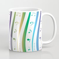 music notes Mugs featuring Seamless music notes pattern by ib photography