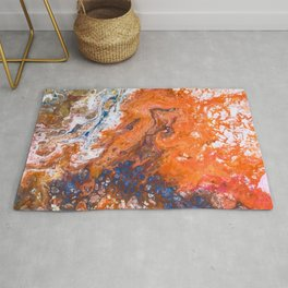 Orange Crush Acrylic Pour Painting Rug
