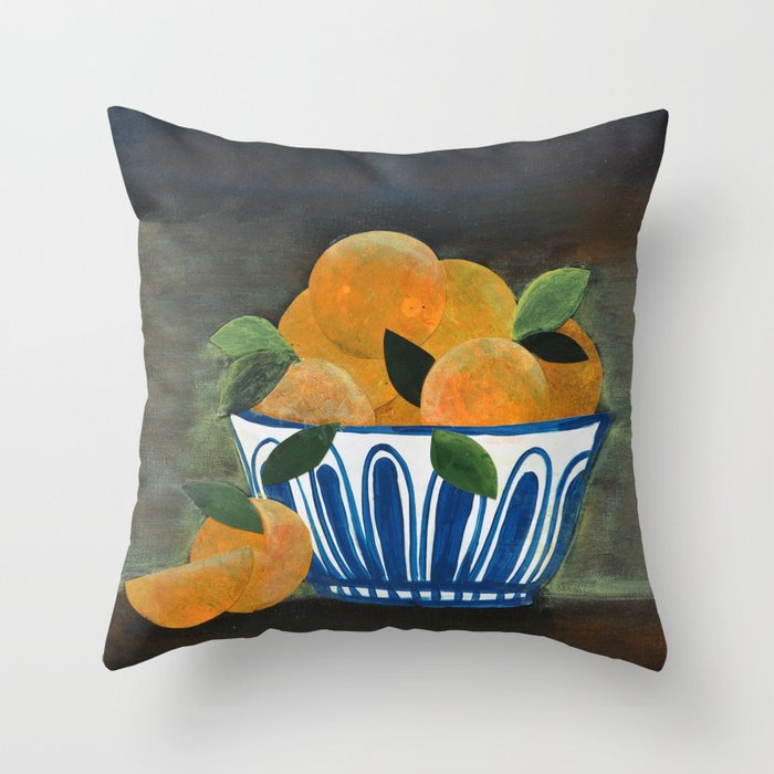 Still Life Oranges in Blue Bowl Throw Pillow