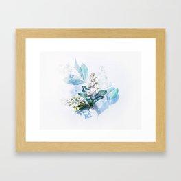 Light Blue Floral Framed Art Print