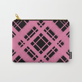 Rose on Black Plaid Chalk Graphic Design Pattern Carry-All Pouch