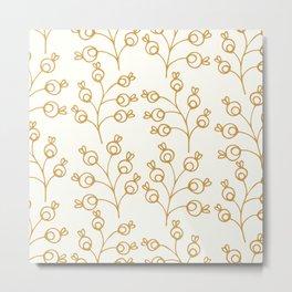 Golden floral pattern on cream Metal Print