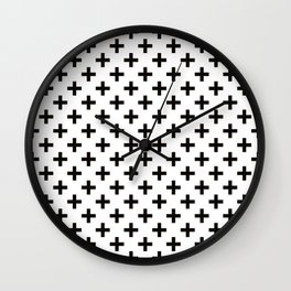 Criss Cross | Plus Sign | Black and White Wall Clock