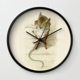 Grandfather Mouse Reading the Newspaper Wall Clock