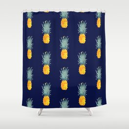 Pineapple Pattern Blue Shower Curtain