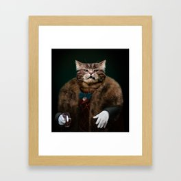 Arrogant sophisticated dressed cat boss looking with contempt Framed Art Print