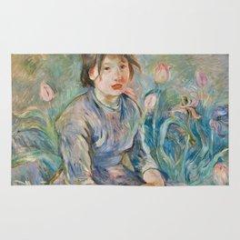 Berthe Morisot - Peasant Girl Among Tulips Rug