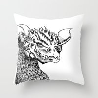 smaug Throw Pillows featuring Smaug by LegendOfZeldy